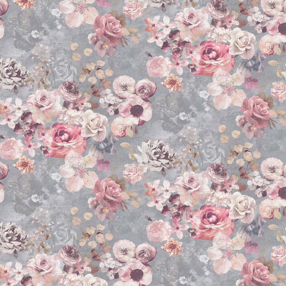Marble Rose Wallpaper - Silver - by Jane Churchill