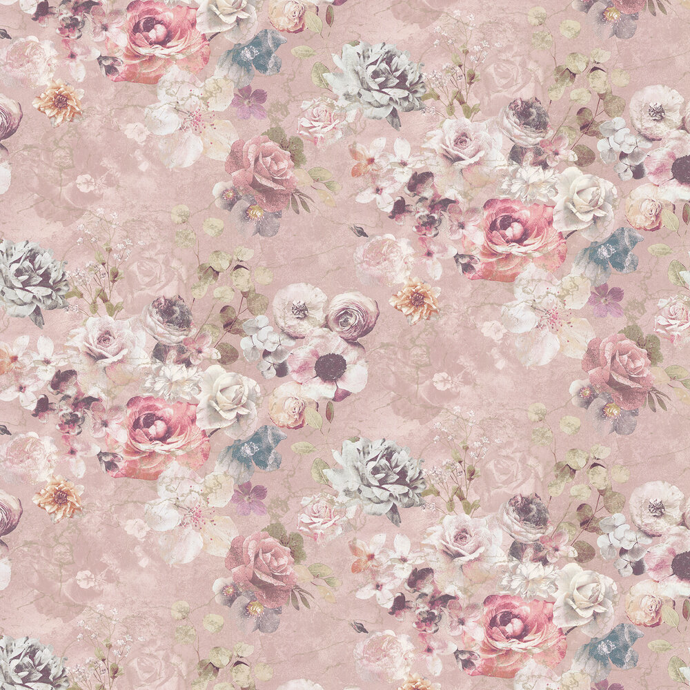 Marble Rose Wallpaper - Pink - by Jane Churchill