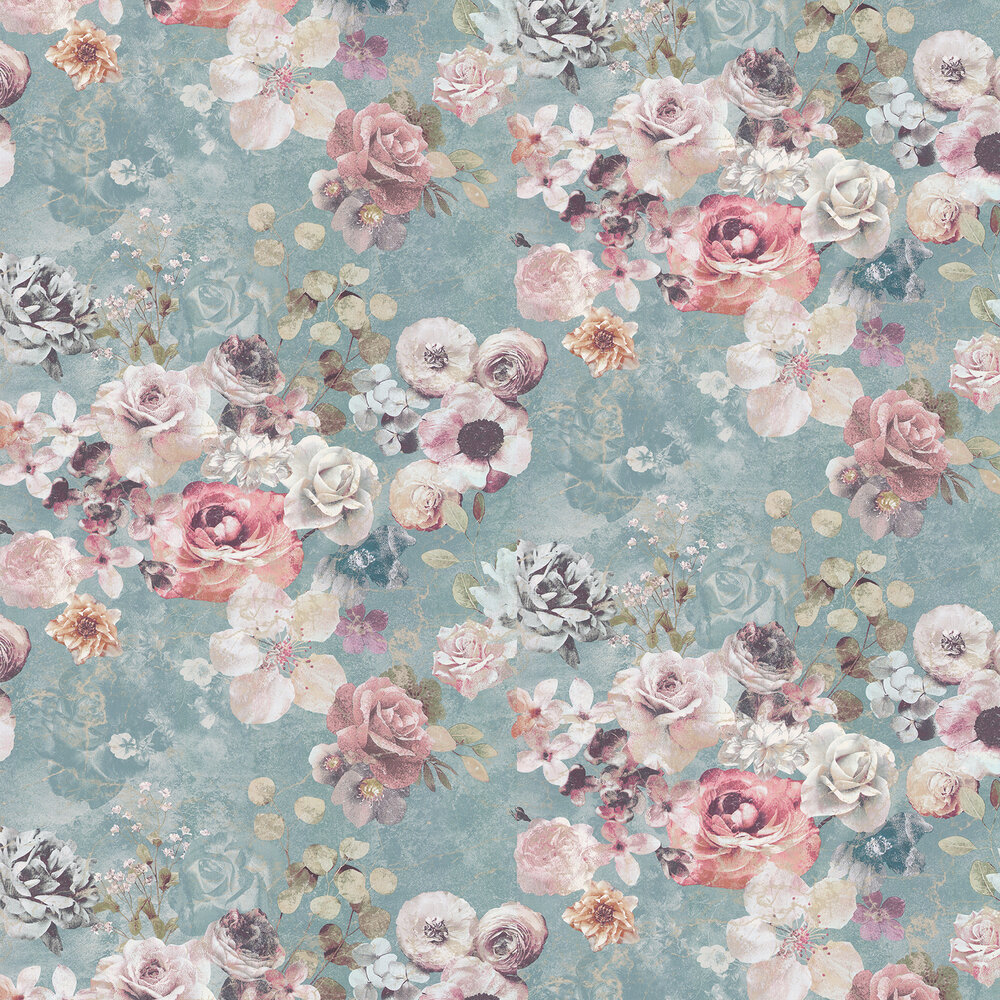 Marble Rose Wallpaper - Aqua - by Jane Churchill