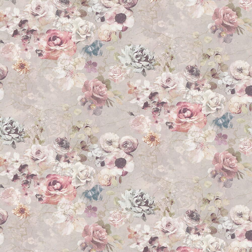 Marble Rose Wallpaper - Pearl - by Jane Churchill