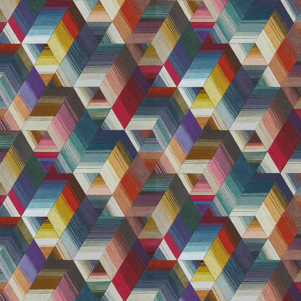 Arccos Wallpaper - Cerise / Neptune / Teal - by Harlequin