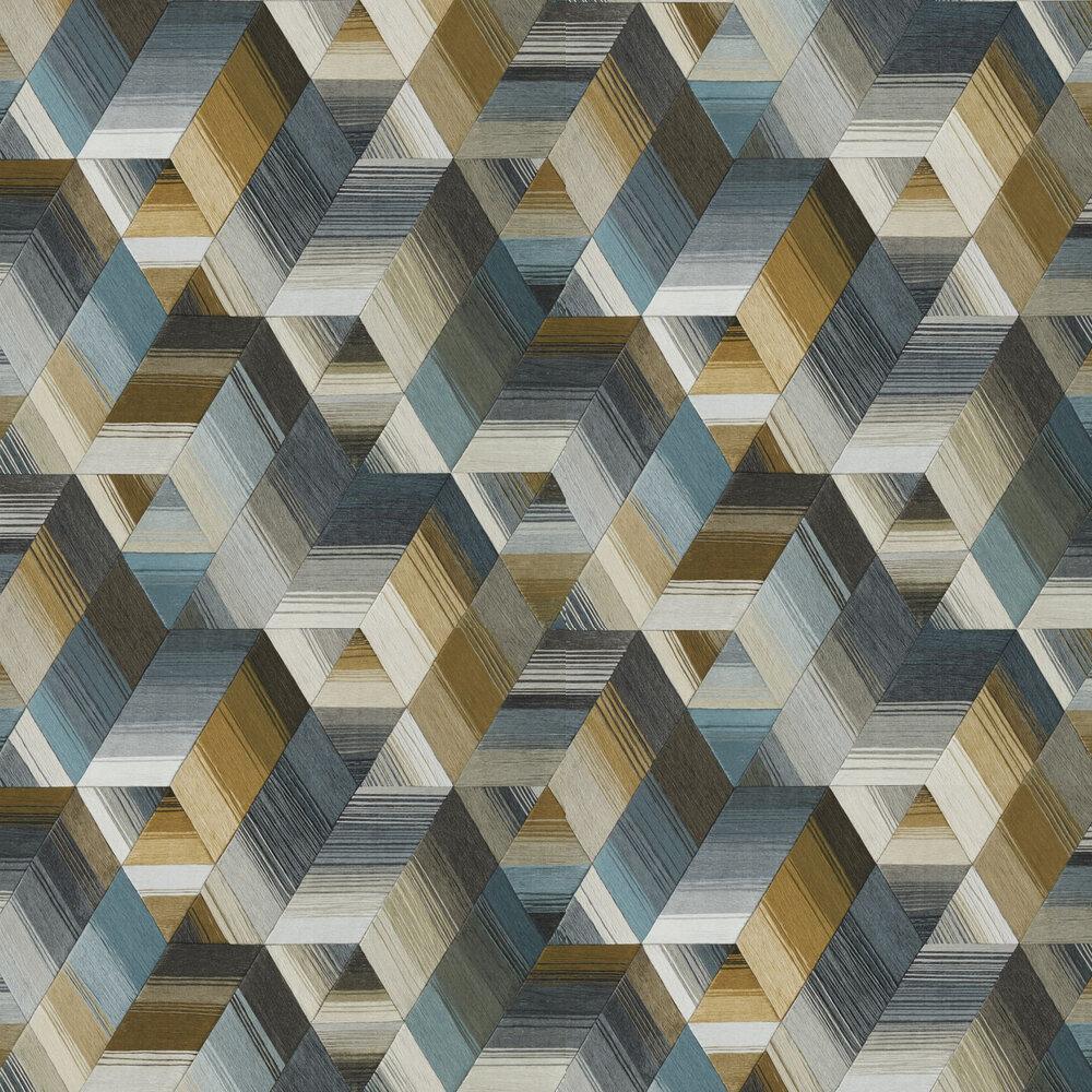 Arccos Wallpaper - Ochre / Steel - by Harlequin