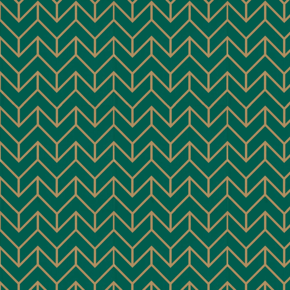 Tessellation Wallpaper - Teal / Gold - by Harlequin