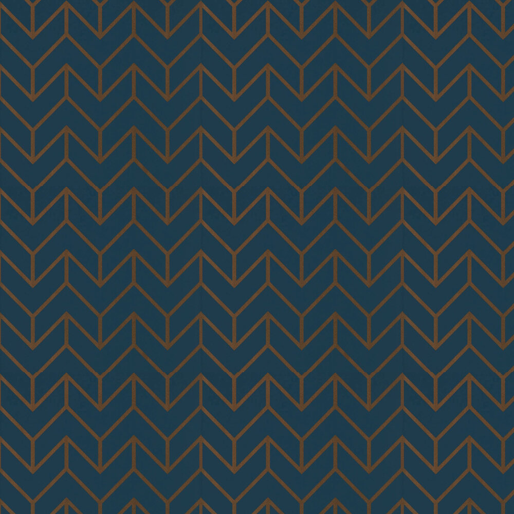 Tessellation Wallpaper - Marine / Copper - by Harlequin