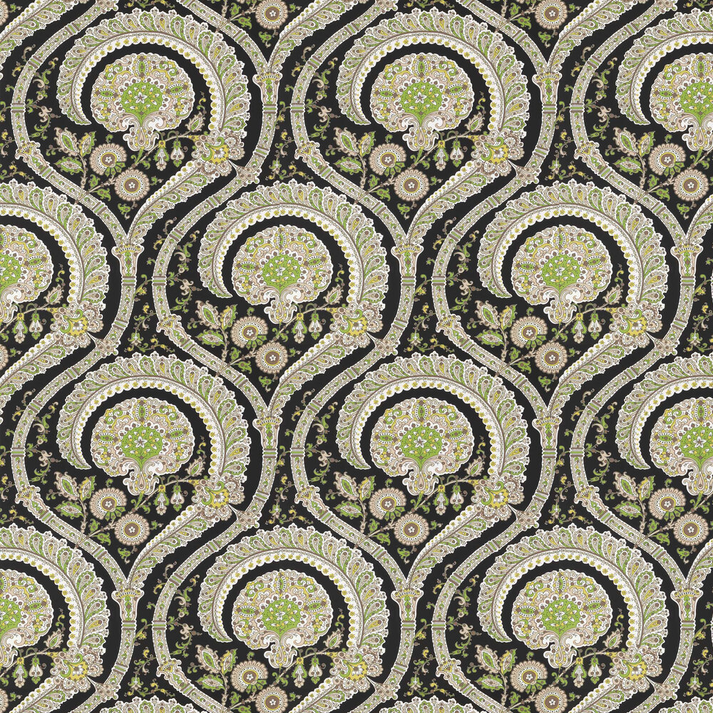 Nina Campbell Les Indiennes Black and Green Wallpaper - Product code: NCW4350-04
