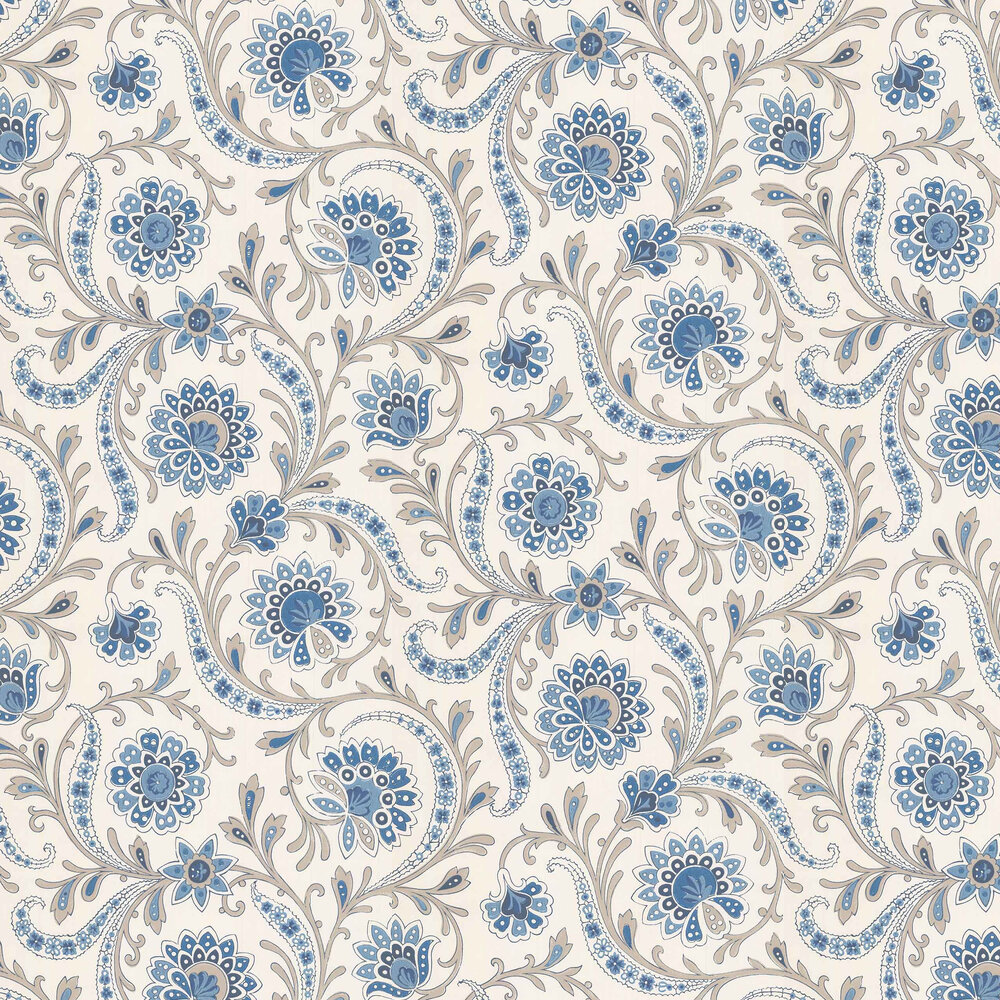 Nina Campbell Baville Blue/ Taupe Wallpaper - Product code: NCW4351-05