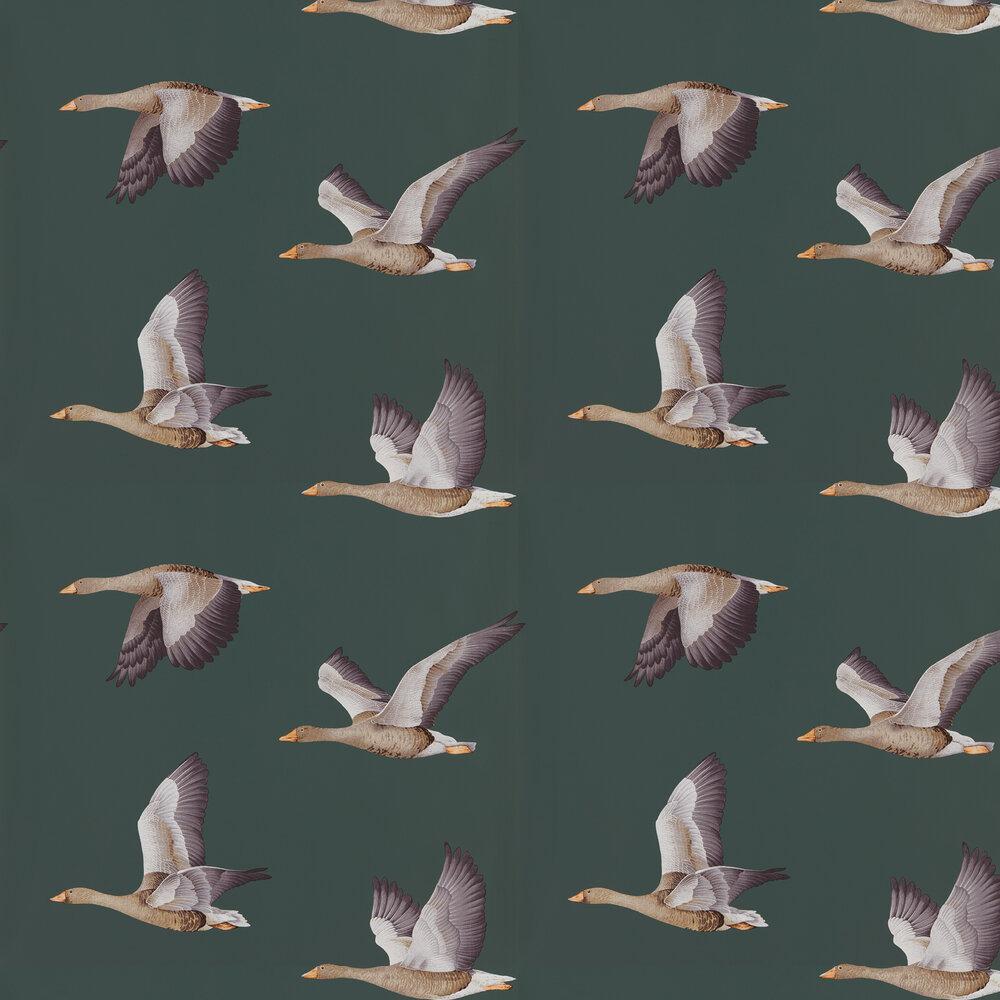 Elysian Geese Wallpaper - Amsterdam Green - by Sanderson
