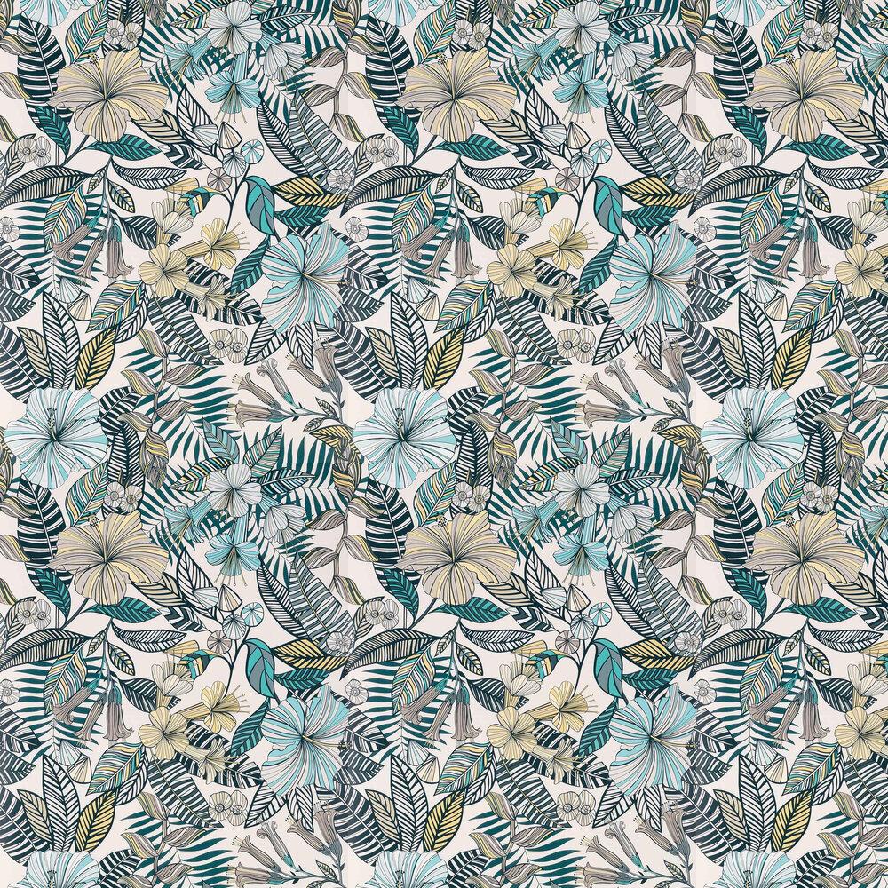 Matthew Williamson Valldemossa Ivory/ Sea Blue  Wallpaper - Product code: W7260-02