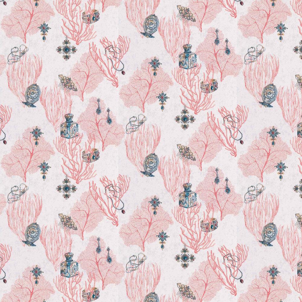 Coralino Wallpaper - Coral/ Amethyst/ Gold - by Matthew Williamson