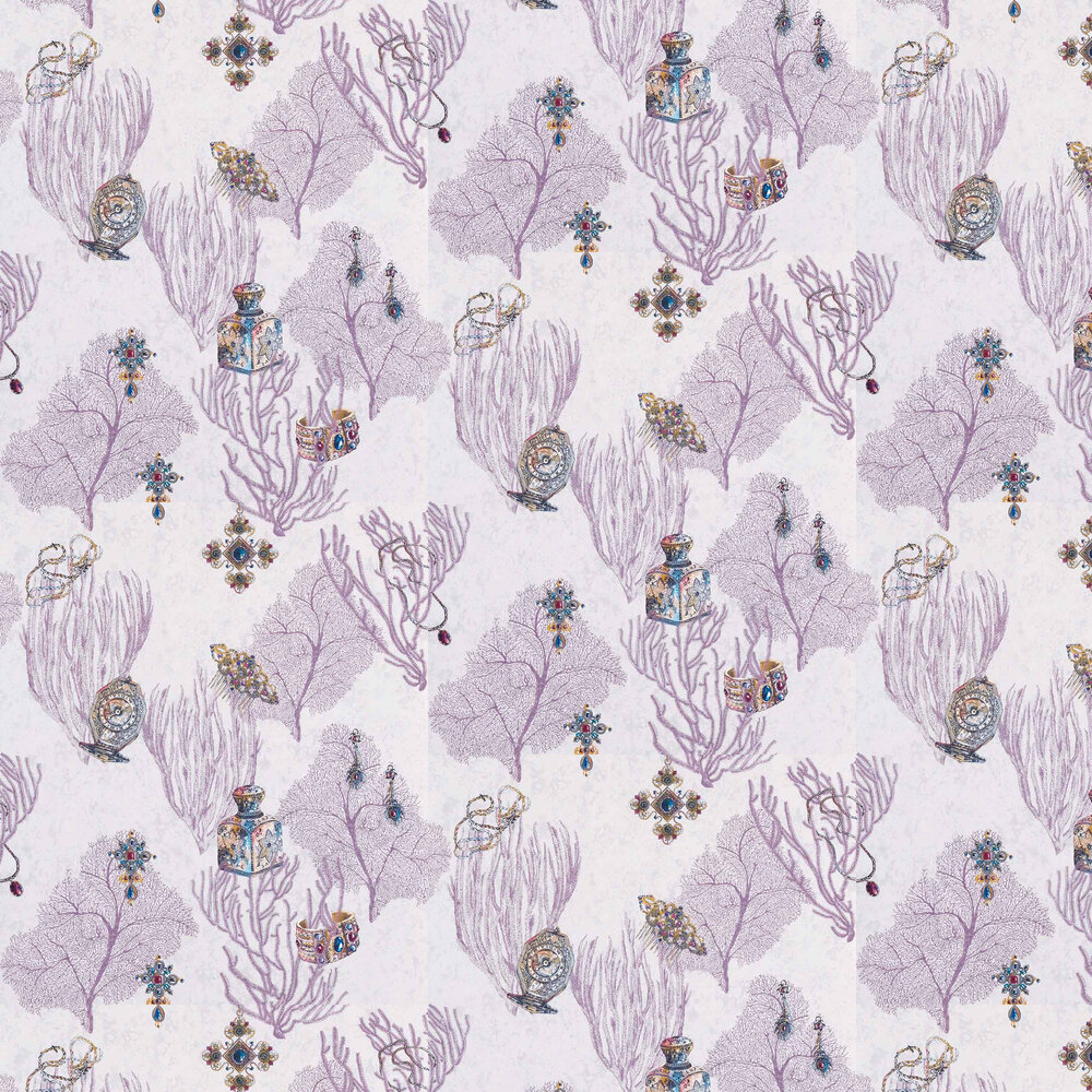 Coralino Wallpaper - Amethyst/ Sapphire/ Gold - by Matthew Williamson