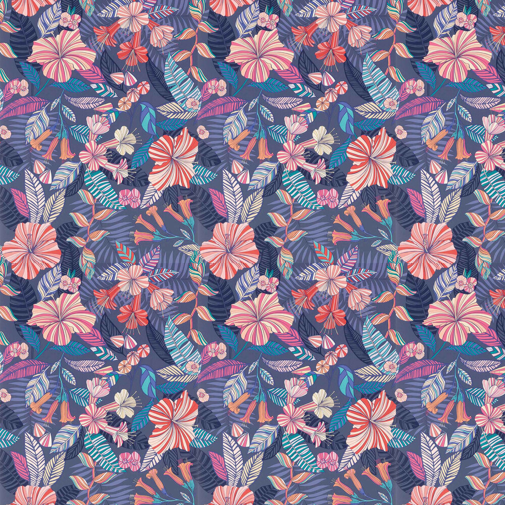 Valldemossa Wallpaper - Midnight/ Coral/ Jade - by Matthew Williamson