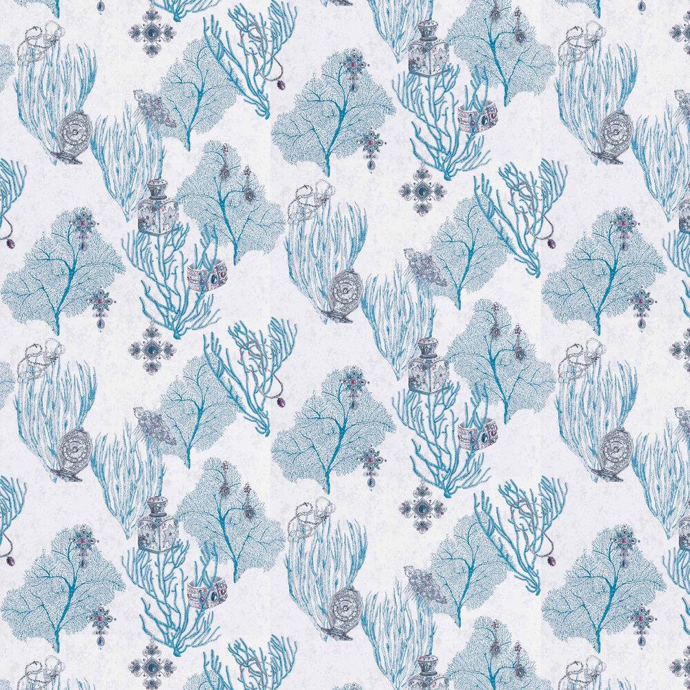 Coralino Wallpaper - Persian Blue/ Silver - by Matthew Williamson