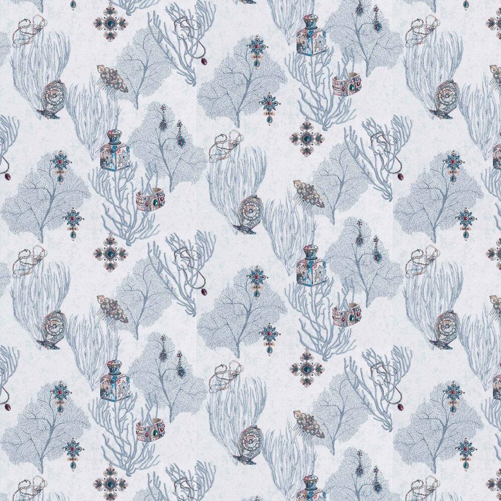 Coralino Wallpaper - Grey/ Ruby/ Gold - by Matthew Williamson