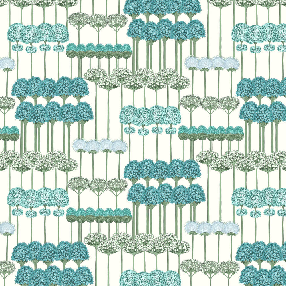 Allium Wallpaper - Teal /Jade on White - by Cole & Son