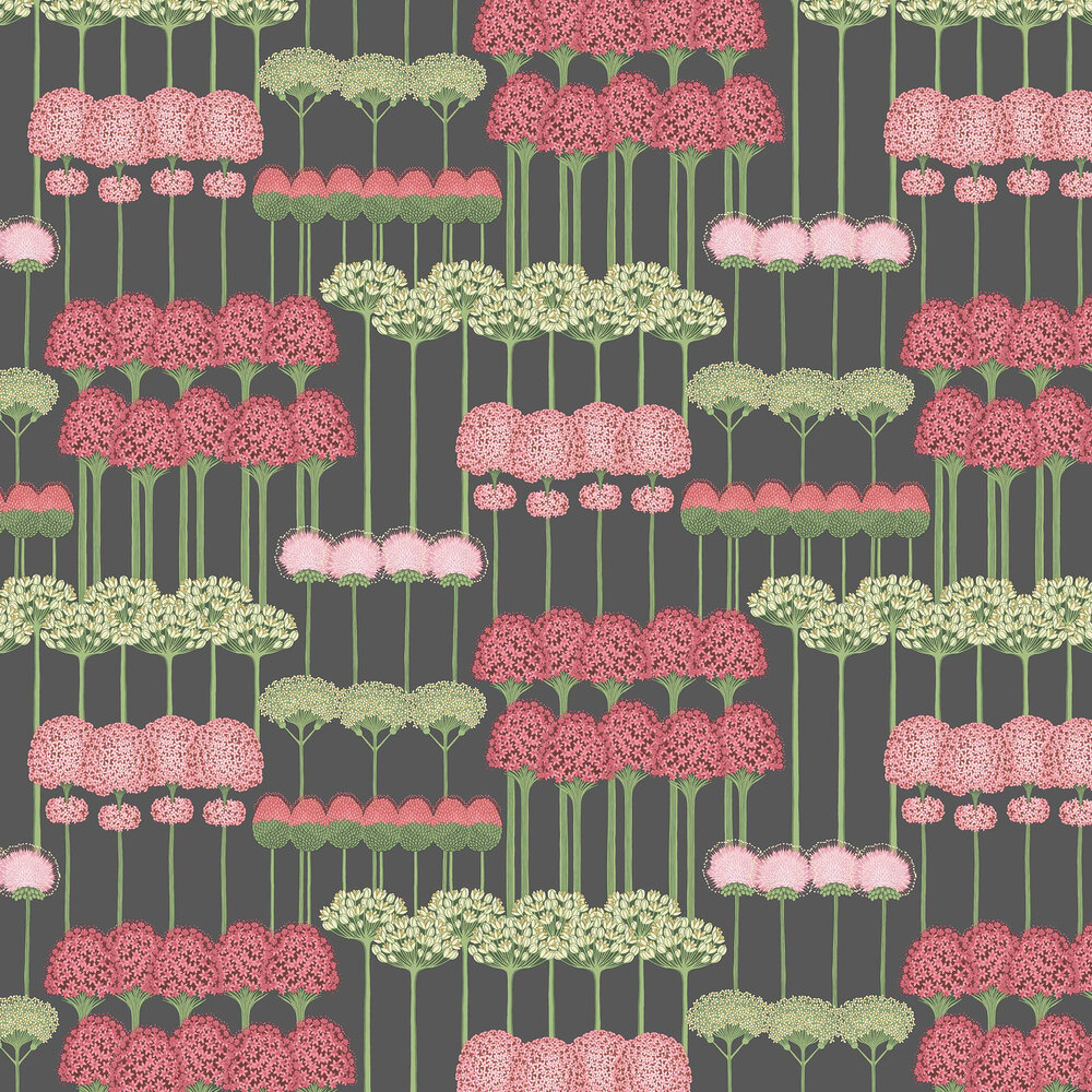 Cole & Son Allium Coral / Leaf Green / Charcoal Wallpaper - Product code: 115/12037