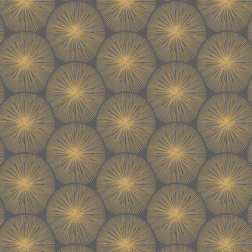 Eclat Wallpaper - Gold and Charcoal - by Casadeco