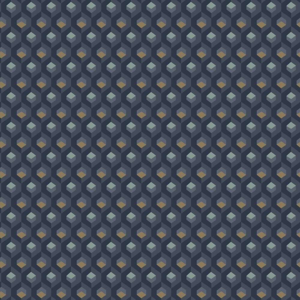 Hexacube Wallpaper - Blue / Gold - by Casadeco