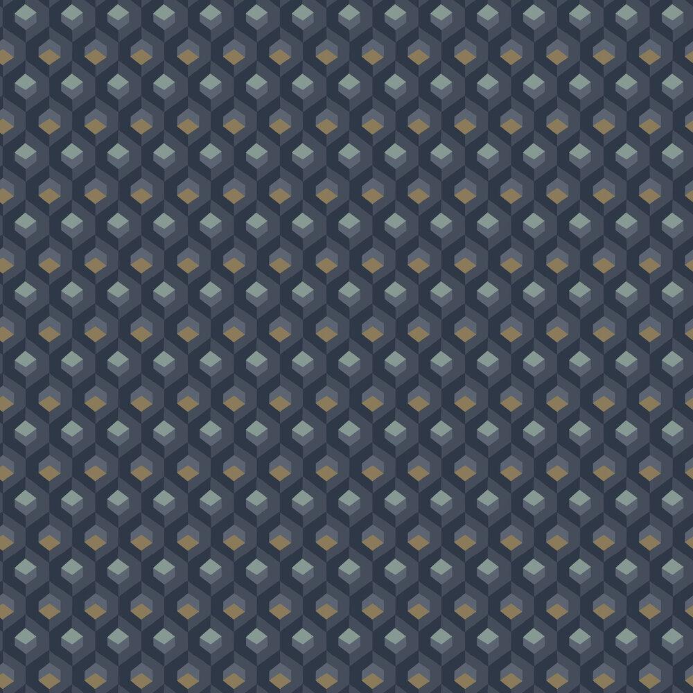 Casadeco Hexacube Blue / Gold Wallpaper - Product code: 82056523