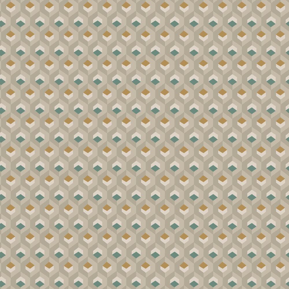 Casadeco Hexacube Dark Cyan / Ochre Wallpaper - Product code: 82057407