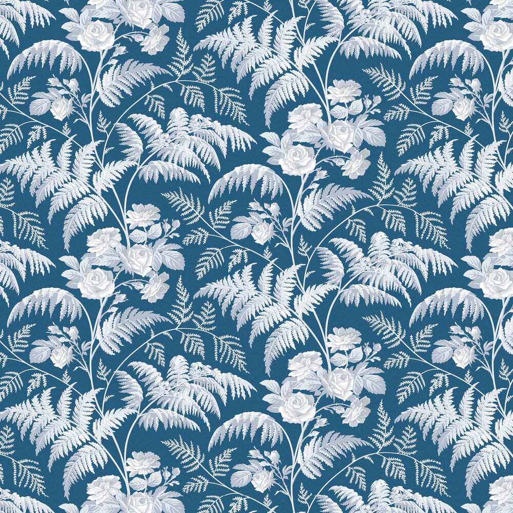Cole & Son Rose White / Ice Blue Wallpaper - Product code: 115/10031