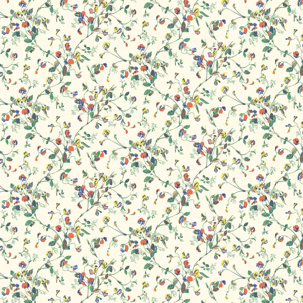 Sweet Pea Wallpaper - Autumnal Multi - by Cole & Son