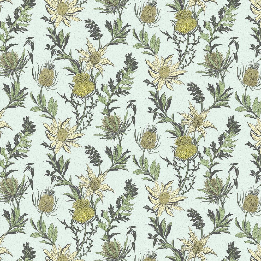 Thistle Wallpaper - Lemon / Olive - by Cole & Son