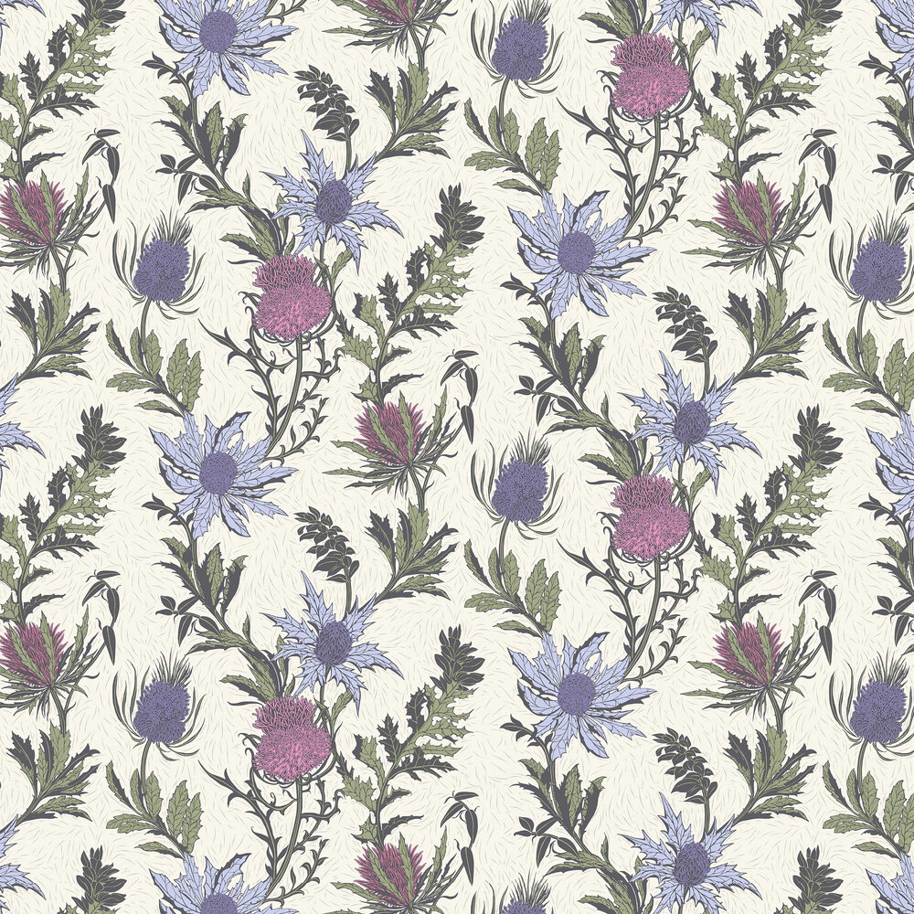 Thistle Wallpaper - Lilac / Cerise - by Cole & Son