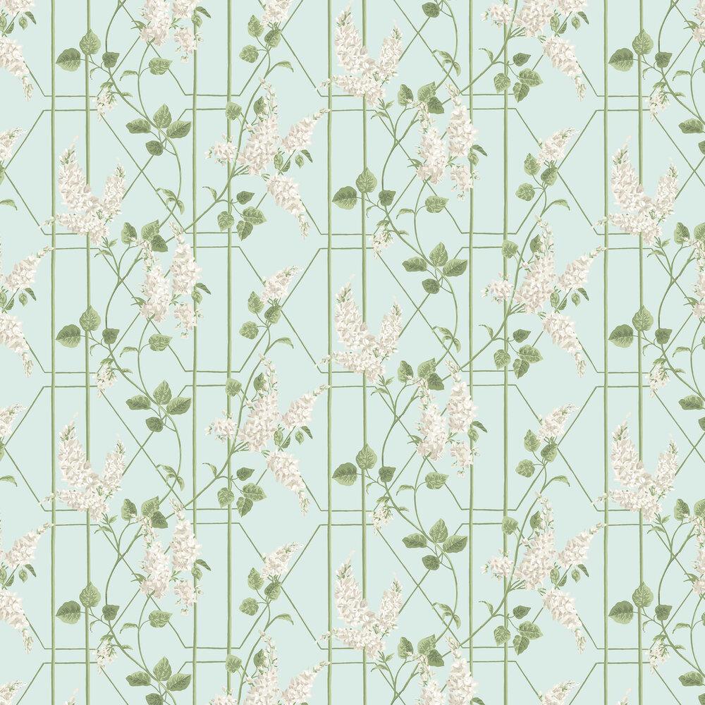 Wisteria Wallpaper - Stone / Olive / Duck Egg - by Cole & Son