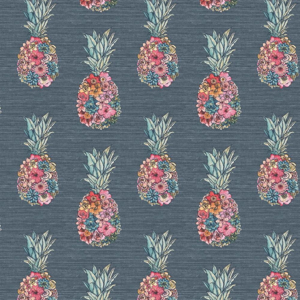 Ananas Wallpaper - Dark Teal/ Scarlet/ Jade - by Matthew Williamson