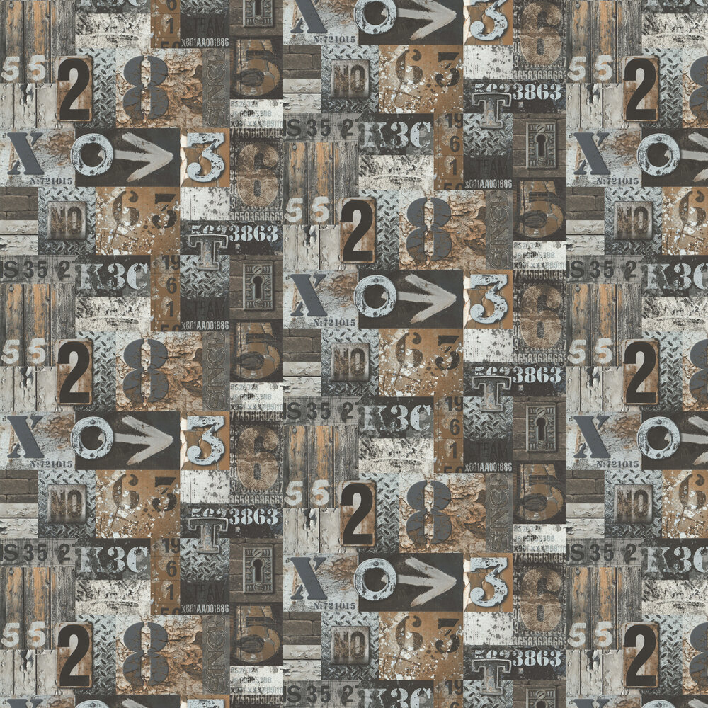 Galerie City Type Copper Wallpaper - Product code: 51171509