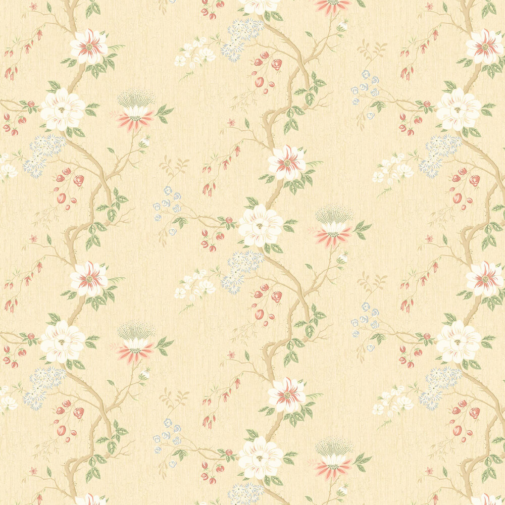 Camellia Wallpaper - Coral / Sage / Buttercup - by Cole & Son