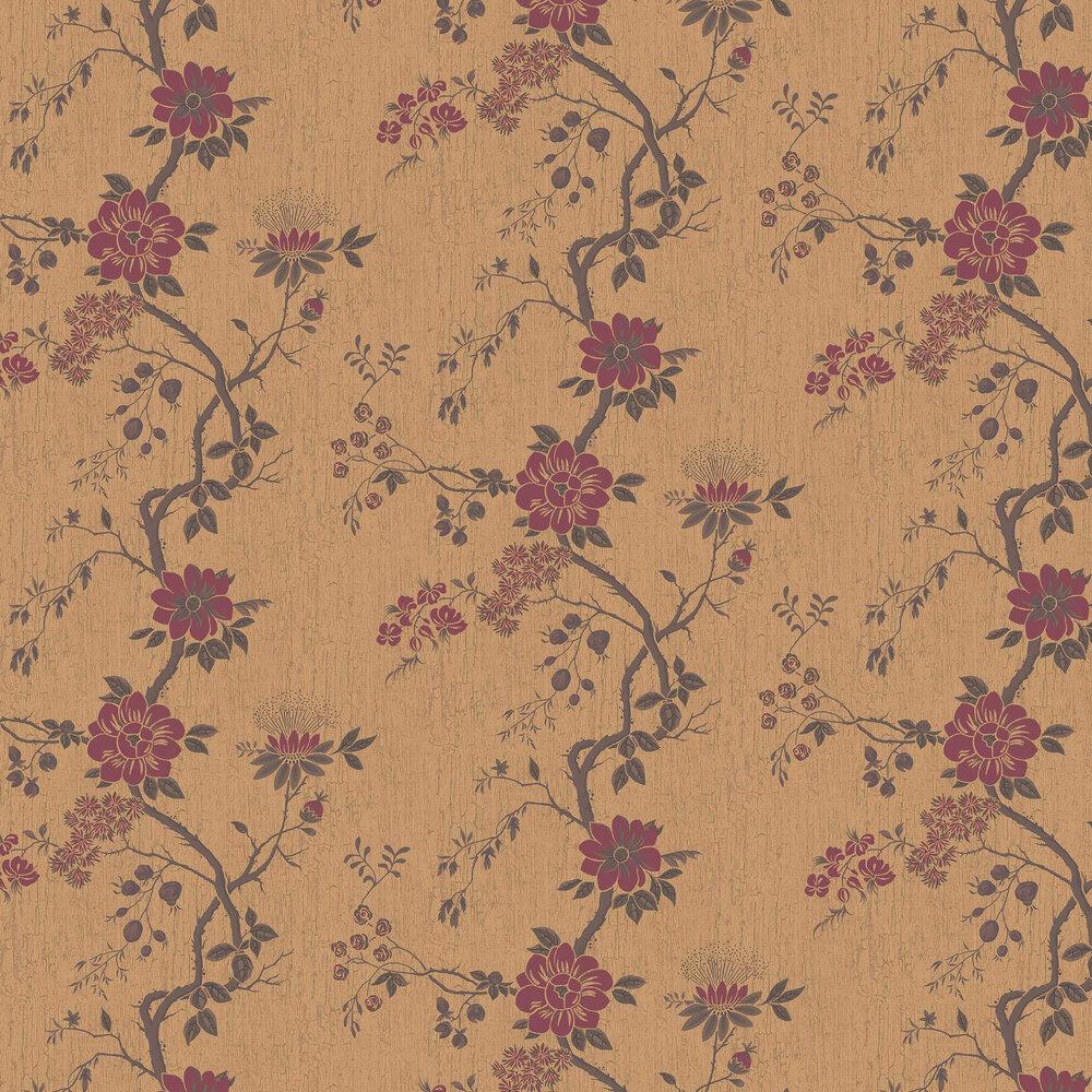 Camellia Wallpaper - Crimson / Metallic Gold - by Cole & Son