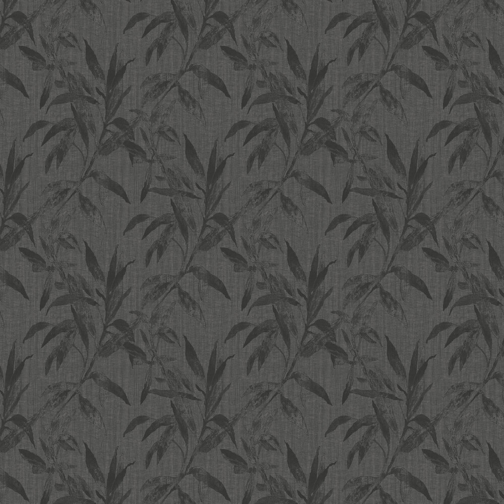 Leaves Wallpaper - Charcoal - by Galerie
