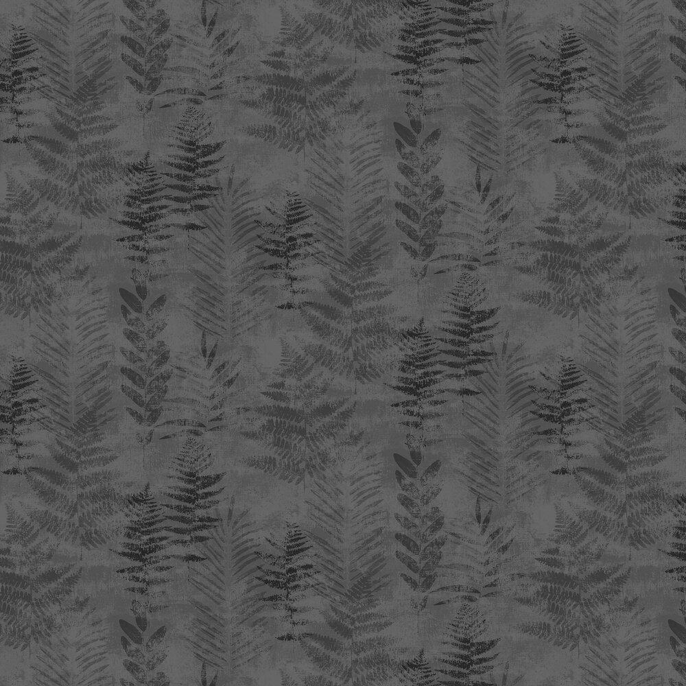 Fern Wallpaper - Black / Silver - by Galerie