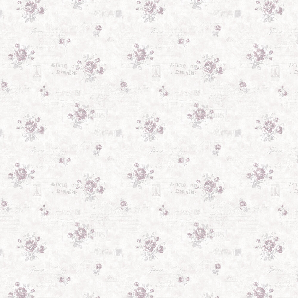 Galerie Rose and Text Pink Wallpaper - Product code: G45082