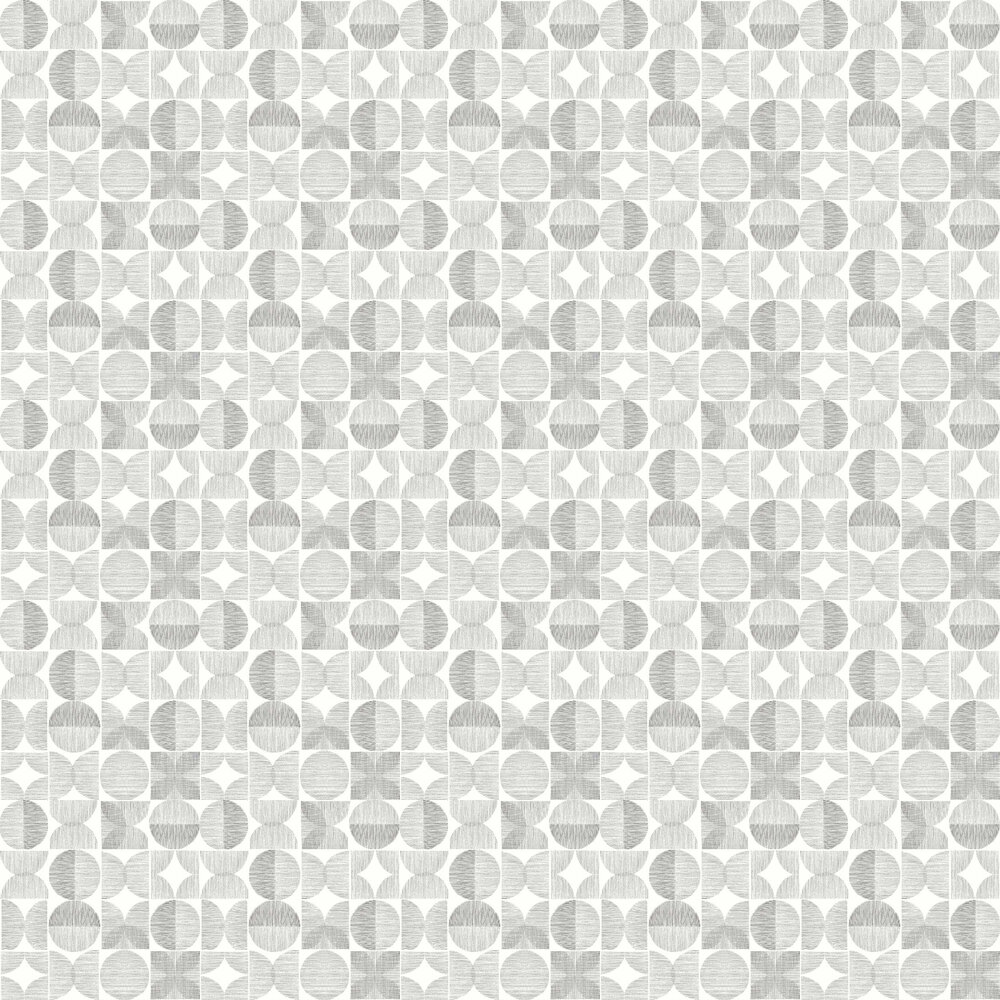 Retro Circle Wallpaper - Grey - by Arthouse