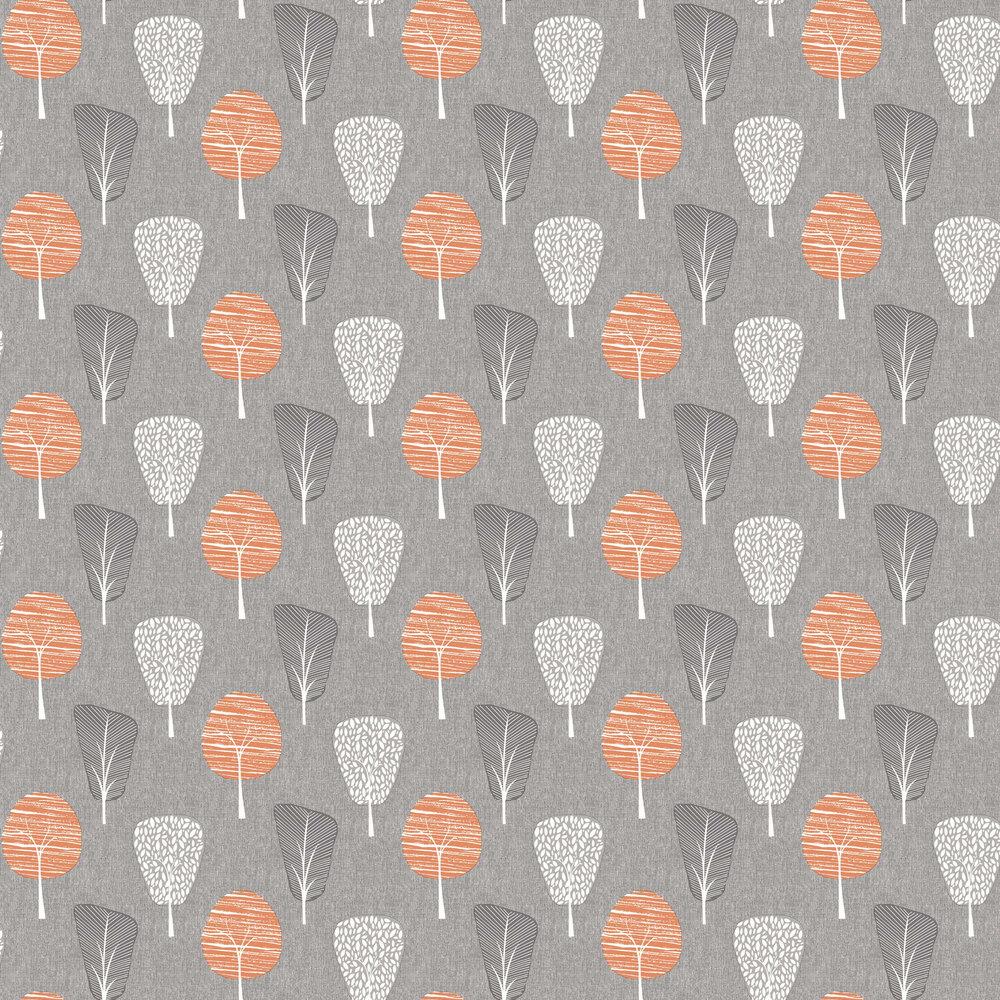 Retro Tree Wallpaper - Orange - by Arthouse