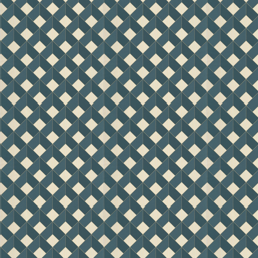 Square Wallpaper - Teal / Gold - by Caselio