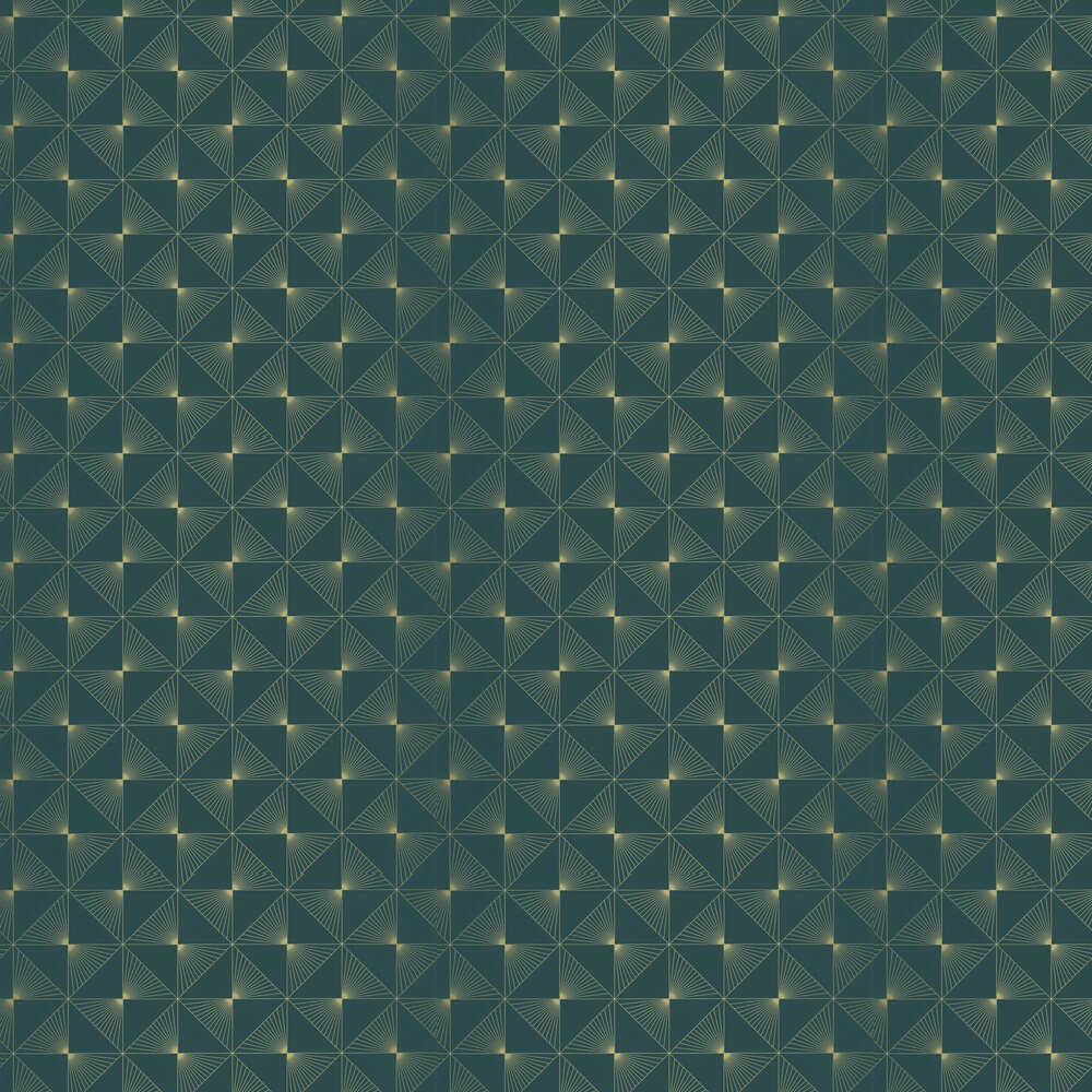Caselio Lines Teal / Gold Wallpaper - Product code: 100136060