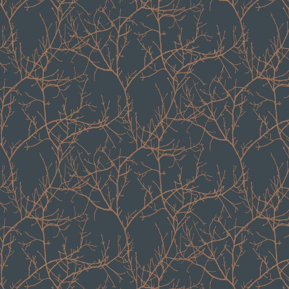 Arbre Wallpaper - Ink / Copper - by Casadeco