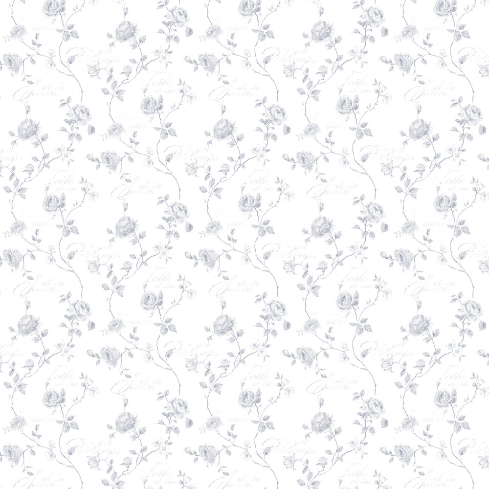 French Rose Trail Wallpaper - Light Grey - by Galerie