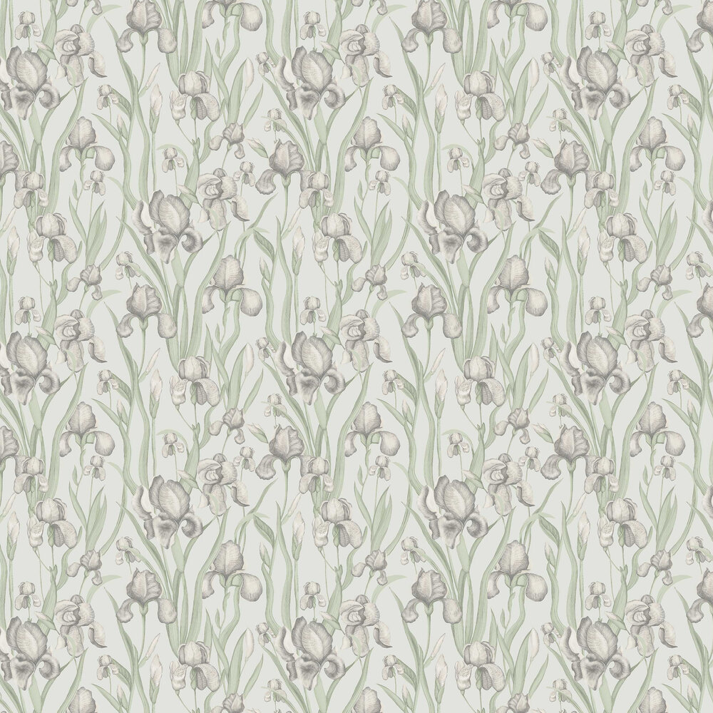 Iris Whisper Wallpaper - Green - by Galerie