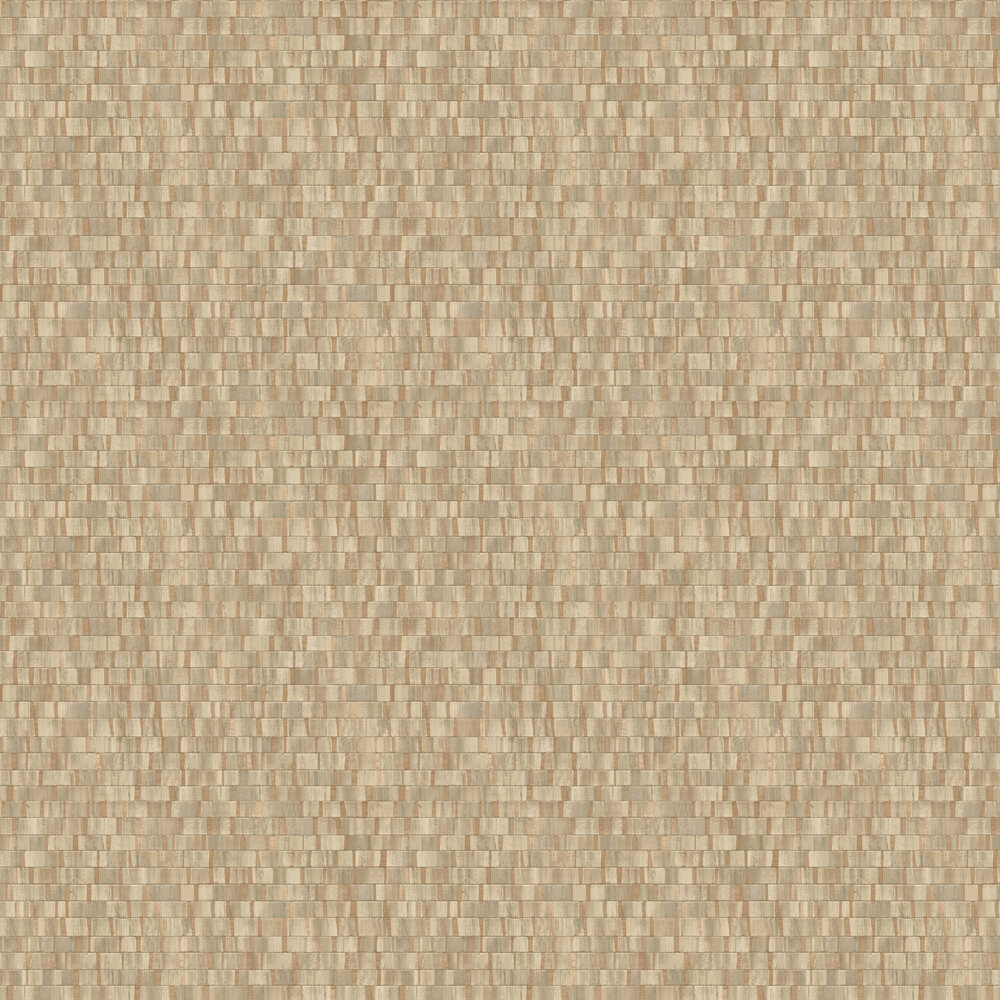 Small Metallic Wood Wallpaper - Natural and Copper - by Albany