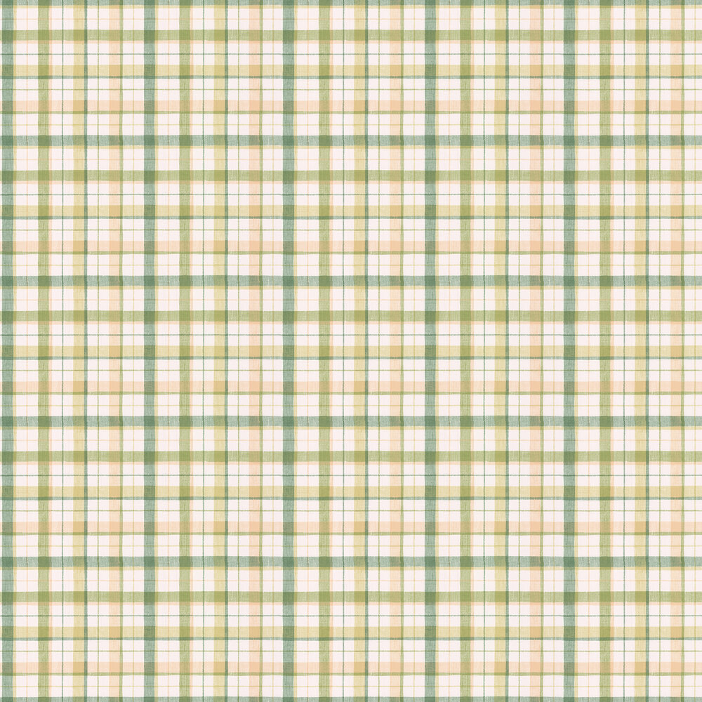 Country Check Wallpaper - Green / Caramel - by Galerie