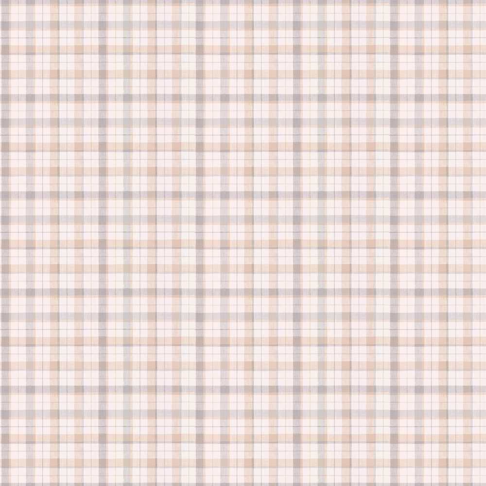 Country Check Wallpaper - Beige / Purple - by Galerie