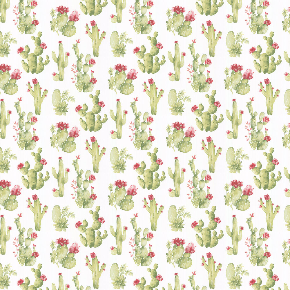Cactus Flower Wallpaper - Green - by Galerie