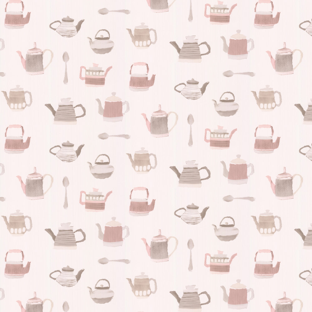Tea Time Wallpaper - Pink / Grey - by Galerie