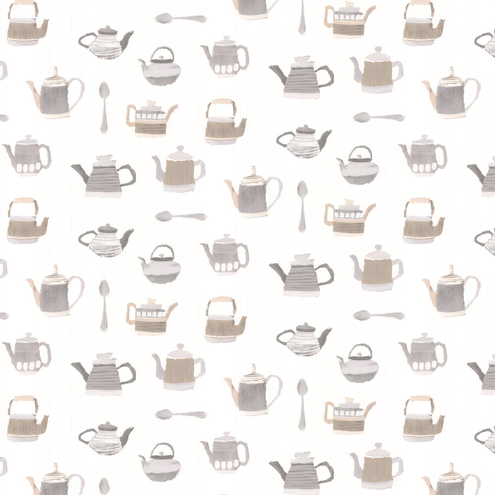 Tea Time Wallpaper - Light Brown - by Galerie