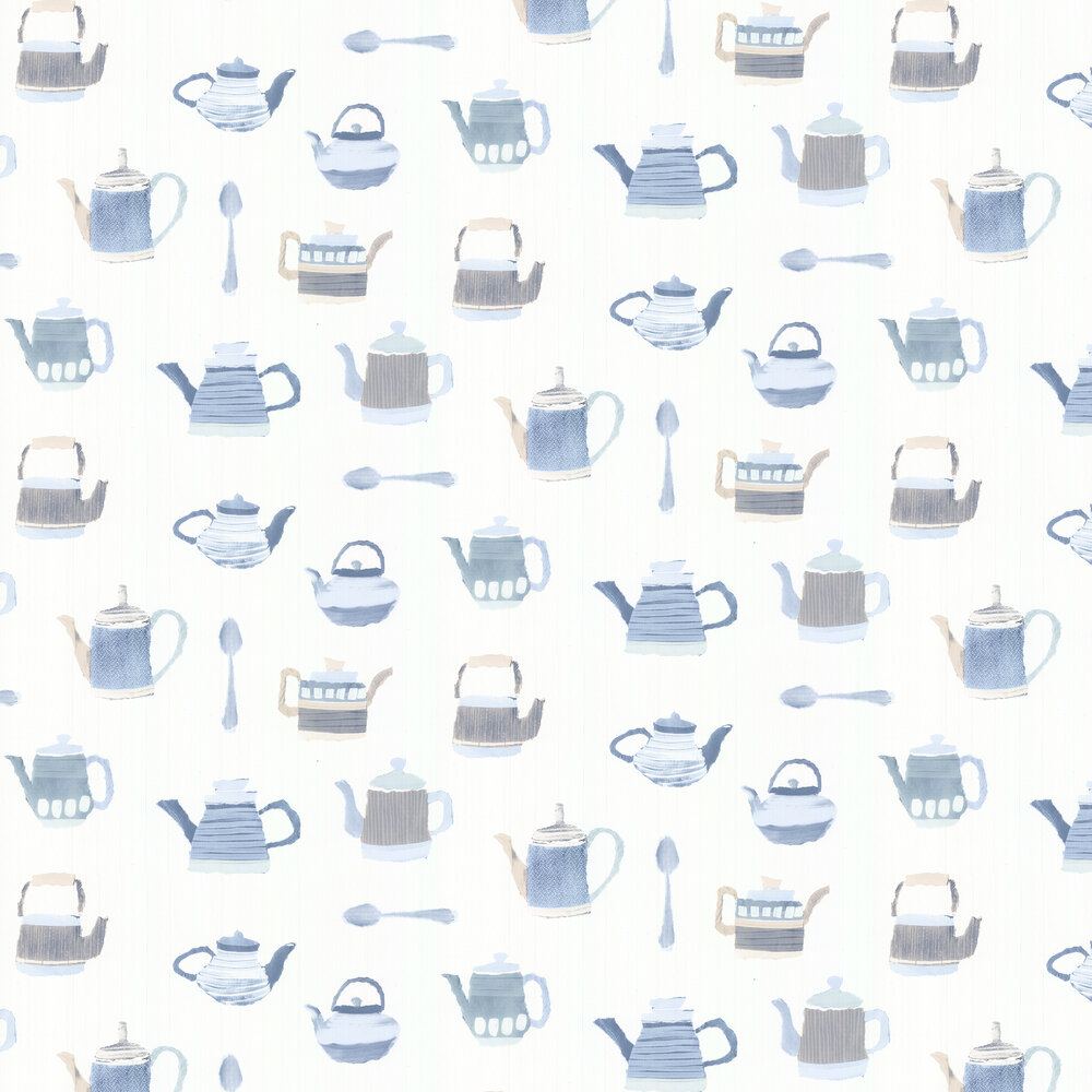 Tea Time Wallpaper - Blue - by Galerie