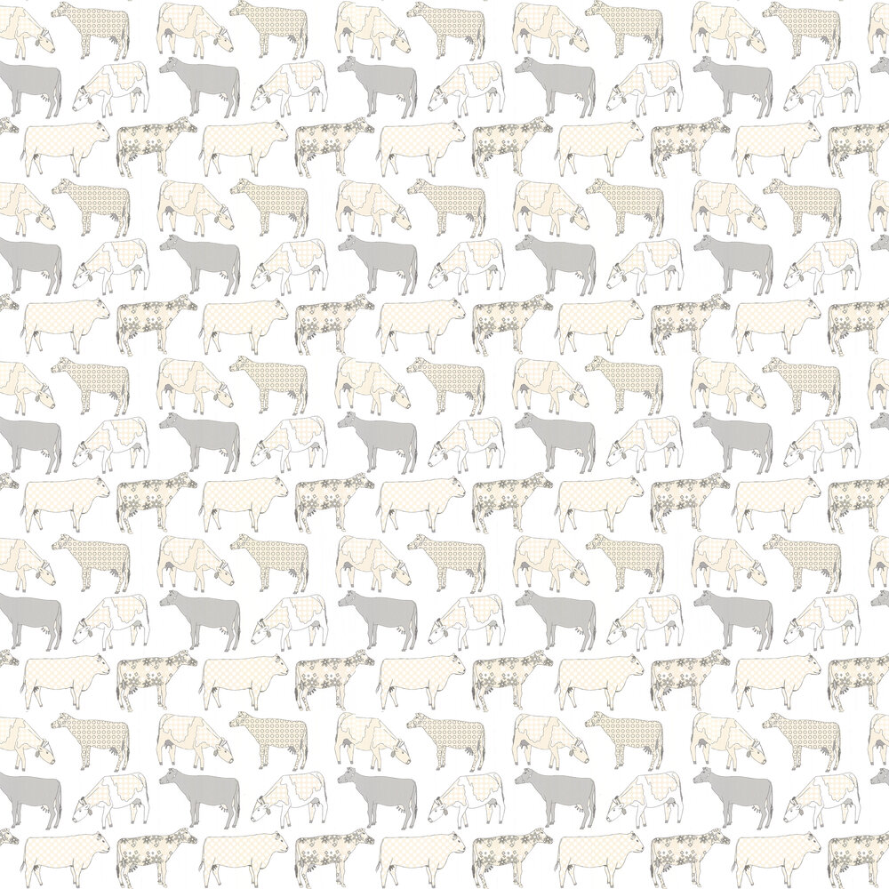 Decorative Cows Wallpaper - Butterscotch - by Galerie